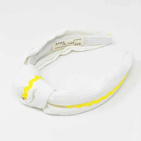 Waffle white with scalloped contrast knotted headband at Born In The Sun - Borninthesun