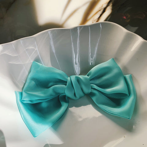 Large silk Bow  sky blue with Hair Clip Fastener at Born In The Sun - Borninthesun