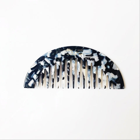 Half Moon Shaped Comb in mixed Black and White Colours at Born In The Sun - Borninthesun