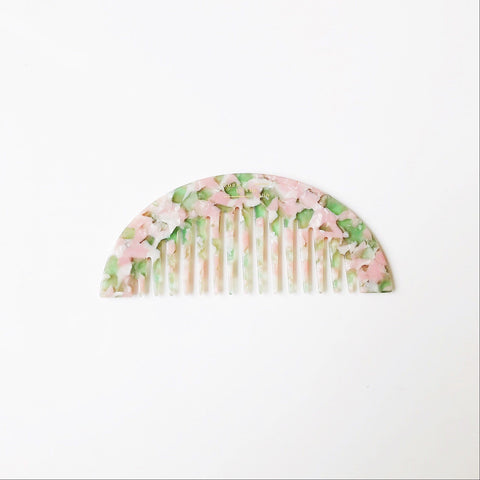 Half Moon Shaped Comb in mixed Green and Pink Colours at Born In The Sun - Borninthesun