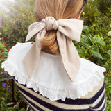 Linen Large Bow Taupe with Hair Clip Fastener at Born In The Sun - Borninthesun