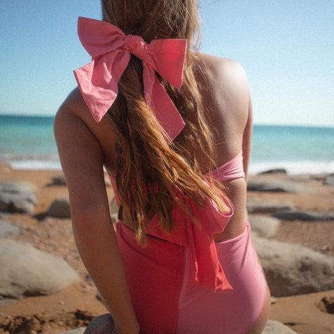 Linen Large Bow Fuschia with Hair Clip Fastener at Born In The Sun - Borninthesun