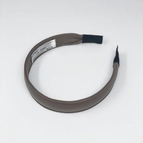 Taupe Thin Faux Leather Headband at Born In The Sun - Borninthesun
