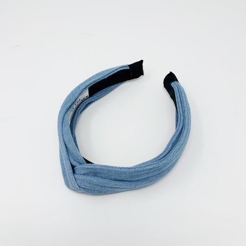 Denim light blue knotted headband - Borninthesun