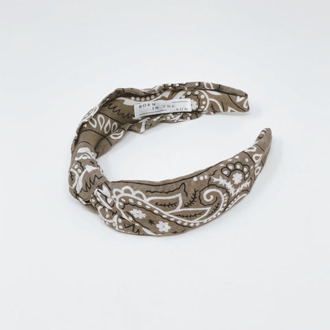 Bandana Military Grey Knotted Headband at Born In The Sun - Borninthesun