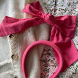 Linen pink padded Headband at Born In The Sun - Borninthesun