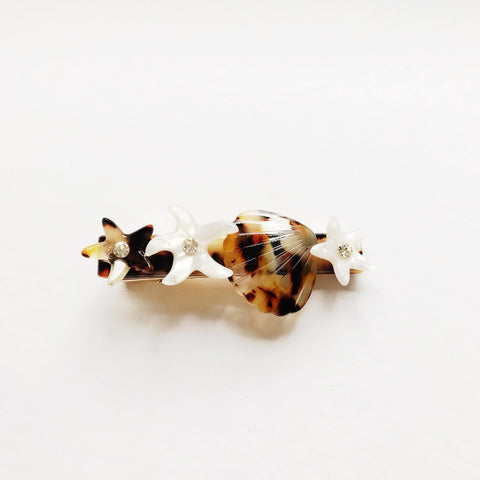 Hair Clip Inspired by Mermaids in White and Tortoiseshell with Clip Fastening at Born In The Sun - Borninthesun