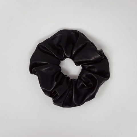 Black Faux Leather Scrunchie - Borninthesun