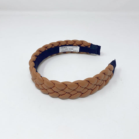 Beige Platted  Leather Headband at Born In The Sun - Borninthesun