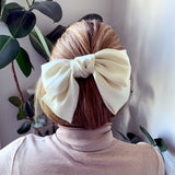 Large Bow Off-White with Hair Clip Fastener at Born In The Sun - Borninthesun