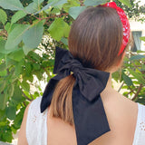 Linen Large Bow Black with Hair Clip Fastener at Born In The Sun - Borninthesun