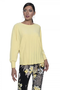 Frank Lyman Pleated Long Sleeve Top