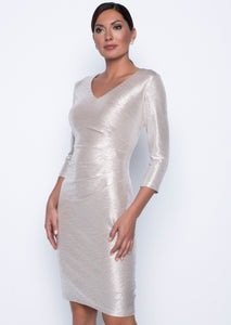 Frank Lyman Champagne/Silver Ruched Side Dress