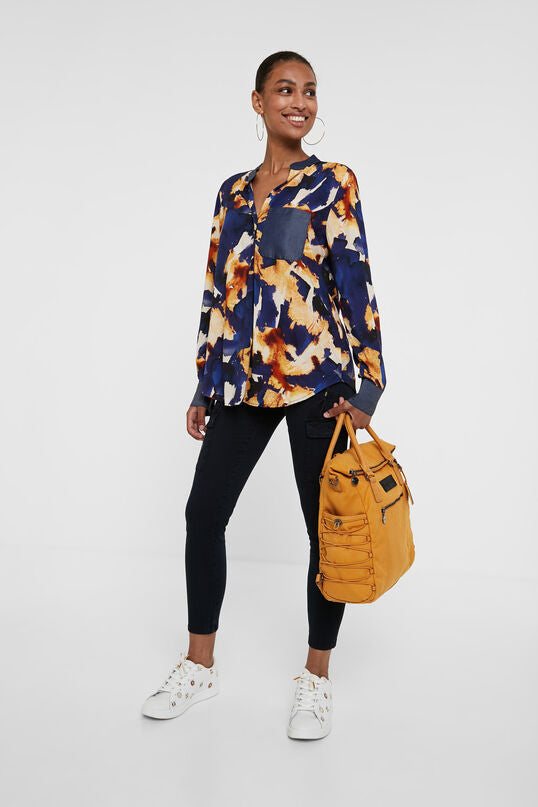 Desigual Long Sleeve Mustard/Blue Blouse