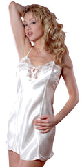 Women's Charmeuse Chemise with Lace and Frog Buttons 055A, Ivory, M