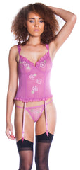 Women's Mesh Bustier and G-String 2 Piece Set #1011
