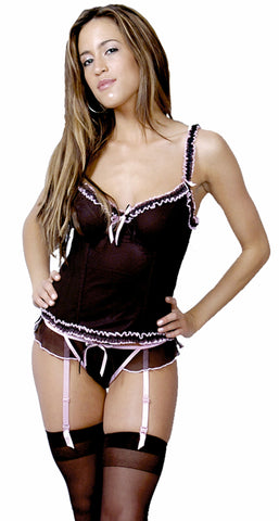Women's Pleated Bustier and G-String 2 Piece Set #1022