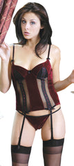 Women's Stretch Velvet Bustier and G-String 2 Piece Set #1049