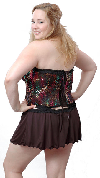 Women S Plus Size Metallic Foil Strapless Bustier And