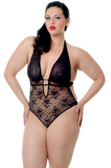Women's Plus Size All Over Lace Halter Teddy #1073X