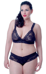 Women's Plus Size Stretch Lace Bralette and Thong Set #1087X