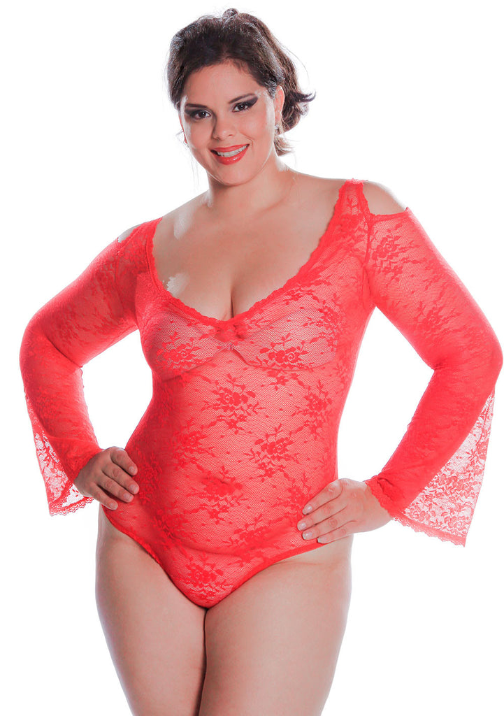8be9f105dc0 Women's Plus Size All Over Lace Long Sleeves Teddy #1103X –  shirleymccoycouture