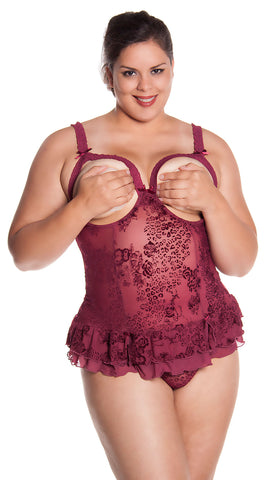Plus Size women's Open Cups Bustier and G-String 2 Piece Set #1109X/XX