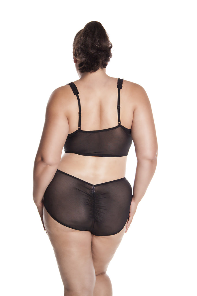 2cfa316fbc5 Plus Size women s Long Line Open Cup Bra and High Rise Retro Panty 2 Piece  Set