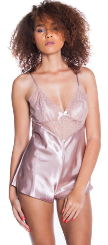 Women's Plus Size Silky Satin Teddy Romper #1127X