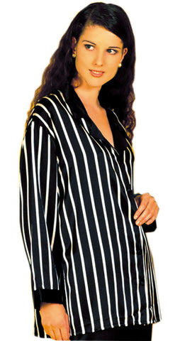 Shirley McCoy Silk Charmeuse Classic Nightshirt 174D, Black Stripes, Size M
