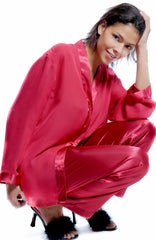 Women's Georgette and Charmeuse Pajama Pant Set #176d