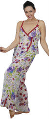 Women's Plus Size Printed Georgette Embroideried Camisole Pajama Set #2045X