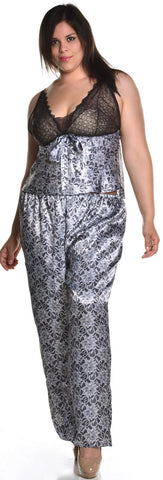 Women's Plus Size Printed Charmeuse Camisole Pajama Set #2053X