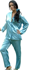 Women's Classic Brushed Back Satin Long Pajama Set #2062