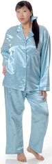 Women's Plus Size Classic Brushed Back Satin Long Pajama Set #2062X