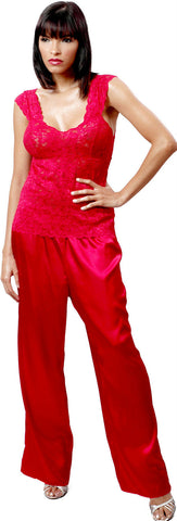Women's Lace and Charmeuse Camisole Pajama Pant Set #2071/x