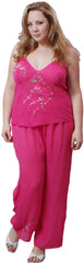 Women's Plus Size Georgette Embroideried Camisole Pajama Set #2075X