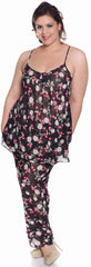 Women's Plus Size Printed Chiffon 3-Pieces Baby Doll Pajama Set #2080X
