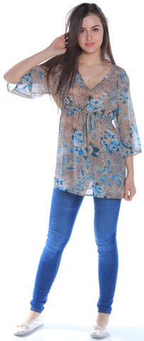 Women's Printed Chiffon Swim Coverup or Nightshirt #2086