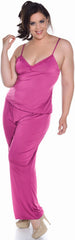 Women's Plus Size Slinky Knit and Lace Camisole Pajama Set #2095X