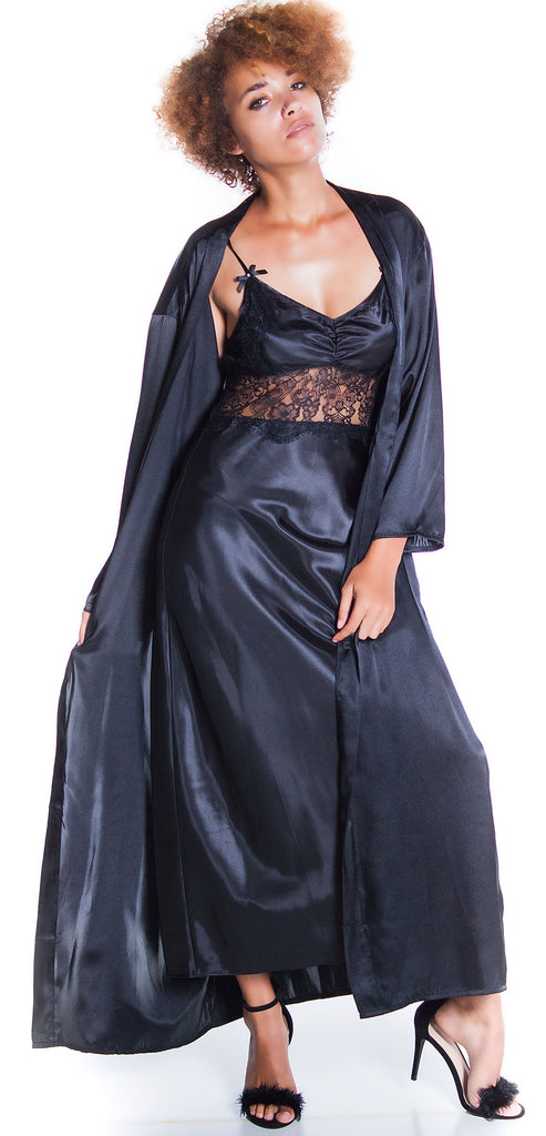 Women s Silky Nightgown With Eyelash Lace And Long Robe Set 60773049 ... 7ef86e832b