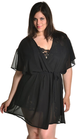 Women's Super Plus Size Chiffon Short Wrap Robe #3073XX