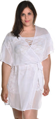 Women's Plus Size Chiffon Short Wrap Robe #3073X