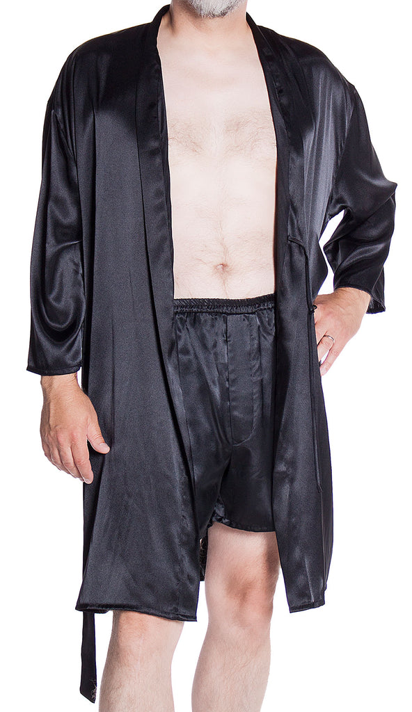 ef1788500e Men s Silky Satin Classic Short Kimono Robe and Boxer Short Set  30798025