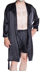Men's Silky Satin Classic Short Kimono Robe and Boxer Short Set #30798025