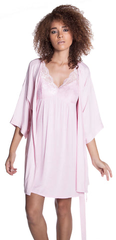 Women's Soft Jersey Lace Built Up Chemise And Short Robe Set #41203080/X