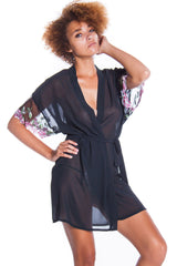 Women's Plus Size Chiffon Short wrap Robe and G-String Set #3099X/XX