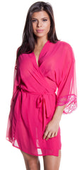 Women's Plus Size Chiffon Short wrap Robe and hipster Set #3100X