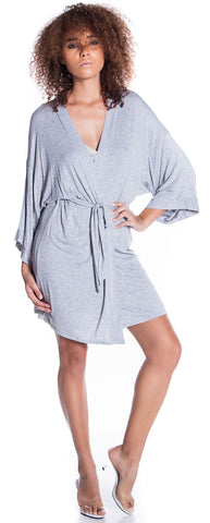 Women's  Cotton Blend Short Kimono Wrap Robe #3106