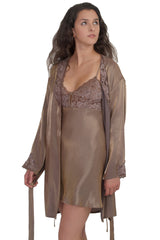 Women's Iridescent Chemise and Short Robe Set #335ac